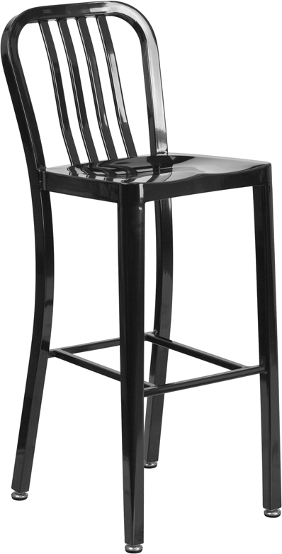 30'' High Black Metal Indoor-Outdoor Barstool with Vertical Slat Back