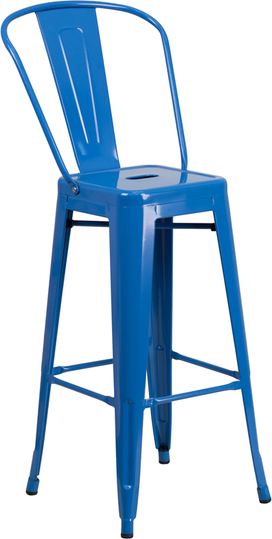 ERGONOMIC HOME 30'' High Blue Metal Indoor-Outdoor Barstool with Back