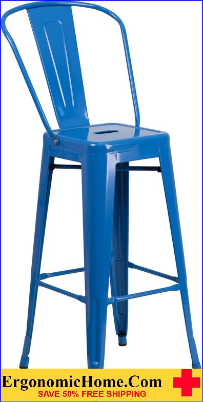 ERGONOMIC HOME 30'' High Blue Metal Indoor-Outdoor Barstool with Back  | <b><font color=green>50% Off Read More Below...</font></b>
