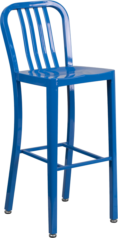 ERGONOMIC HOME 30'' High Blue Metal Indoor-Outdoor Barstool with Vertical Slat Back