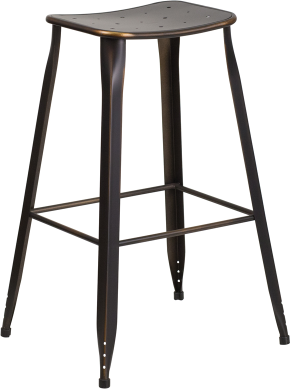 ERGONOMIC HOME 30'' High Copper Metal Indoor-Outdoor Barstool