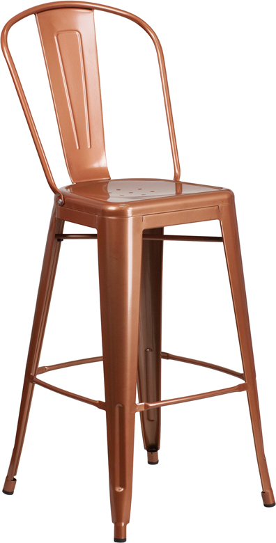 ERGONOMIC HOME 30'' High Copper Metal Indoor-Outdoor Barstool with Back