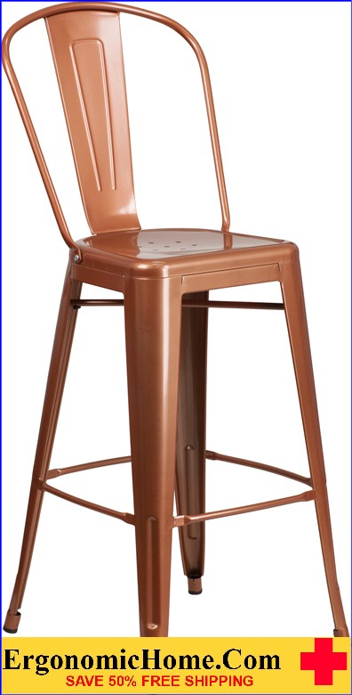 ERGONOMIC HOME 30'' High Copper Metal Indoor-Outdoor Barstool with Back <b><font color=green>50% Off Read More Below...</font></b>