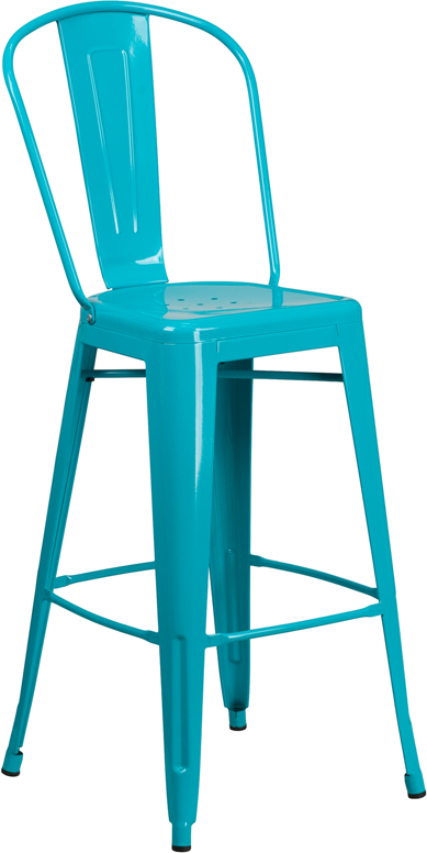 ERGONOMIC HOME 30'' High Crystal Blue Metal Indoor-Outdoor Barstool with Back