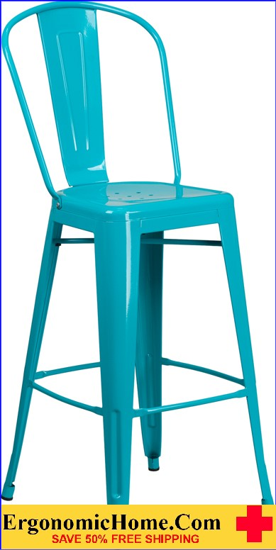 ERGONOMIC HOME 30'' High Crystal Blue Metal Indoor-Outdoor Barstool with Back <b><font color=green>50% Off Read More Below...</font></b>