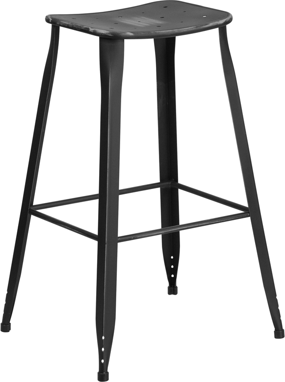 ERGONOMIC HOME 30'' High Distressed Black Metal Indoor-Outdoor Barstool