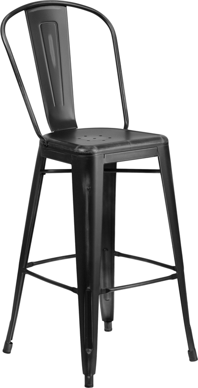 ERGONOMIC HOME 30'' High Distressed Black Metal Indoor-Outdoor Barstool with Back