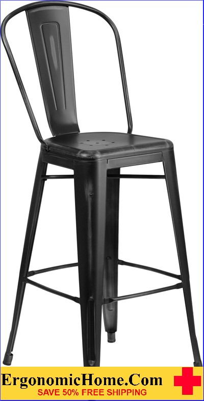 ERGONOMIC HOME 30'' High Distressed Black Metal Indoor-Outdoor Barstool with Back  <b><font color=green>50% Off Read More Below...</font></b></font></b>