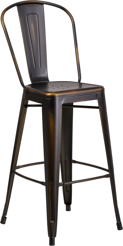 ERGONOMIC HOME 30'' High Distressed Copper Metal Indoor-Outdoor Barstool with Back