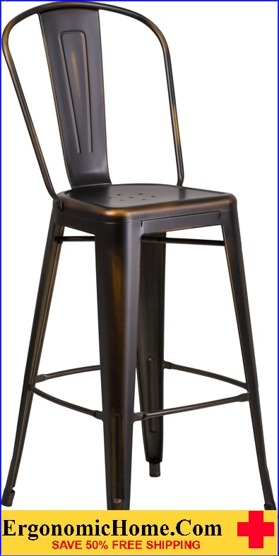 ERGONOMIC HOME 30'' High Distressed Copper Metal Indoor-Outdoor Barstool with Back <b><font color=green>50% Off Read More Below...</font></b>