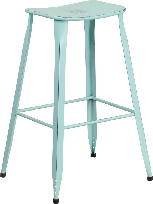 ERGONOMIC HOME 30'' High Distressed Dream Blue Metal Indoor-Outdoor Barstool