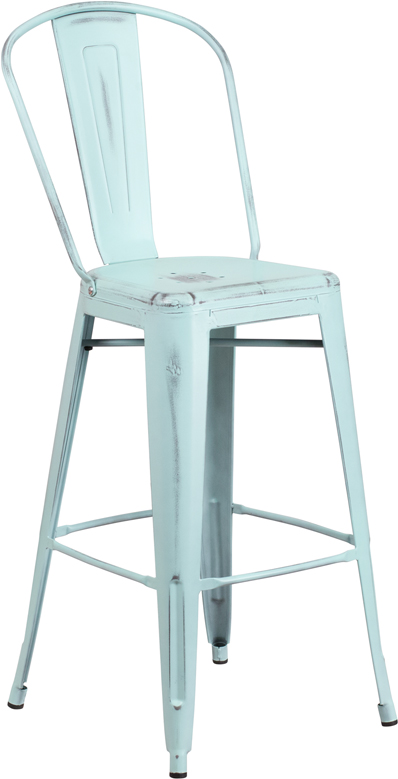 ERGONOMIC HOME 30'' High Distressed Dream Blue Metal Indoor-Outdoor Barstool with Back