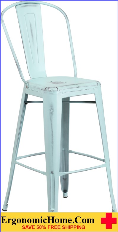 ERGONOMIC HOME 30'' High Distressed Dream Blue Metal Indoor-Outdoor Barstool with Back  <b><font color=green>50% Off Read More Below...</font></b>