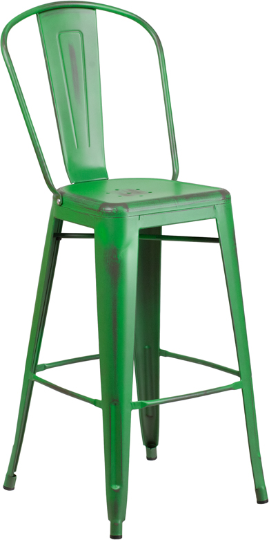 ERGONOMIC HOME 30'' High Distressed Green Metal Indoor-Outdoor Barstool with Back