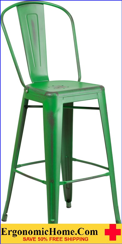 ERGONOMIC HOME 30'' High Distressed Green Metal Indoor-Outdoor Barstool with Back <b><font color=green>50% Off Read More Below...</font></b></font></b>