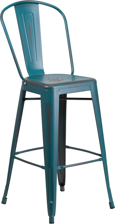 ERGONOMIC HOME 30'' High Distressed Kelly Blue Metal Indoor-Outdoor Barstool with Back