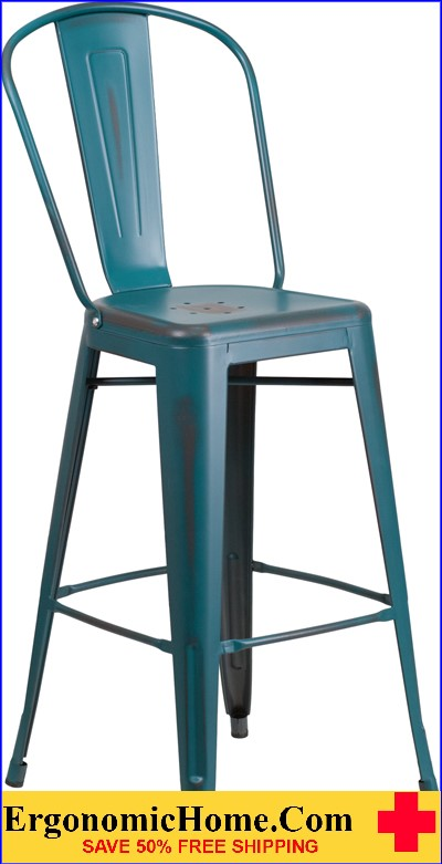 ERGONOMIC HOME 30'' High Distressed Kelly Blue Metal Indoor-Outdoor Barstool with Back  <b><font color=green>50% Off Read More Below...</font></b></font></b>