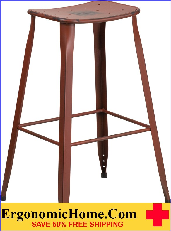 ERGONOMIC HOME 30'' High Distressed Kelly Red Metal Indoor-Outdoor Barstool <b><font color=green>50% Off Read More Below...</font></b>