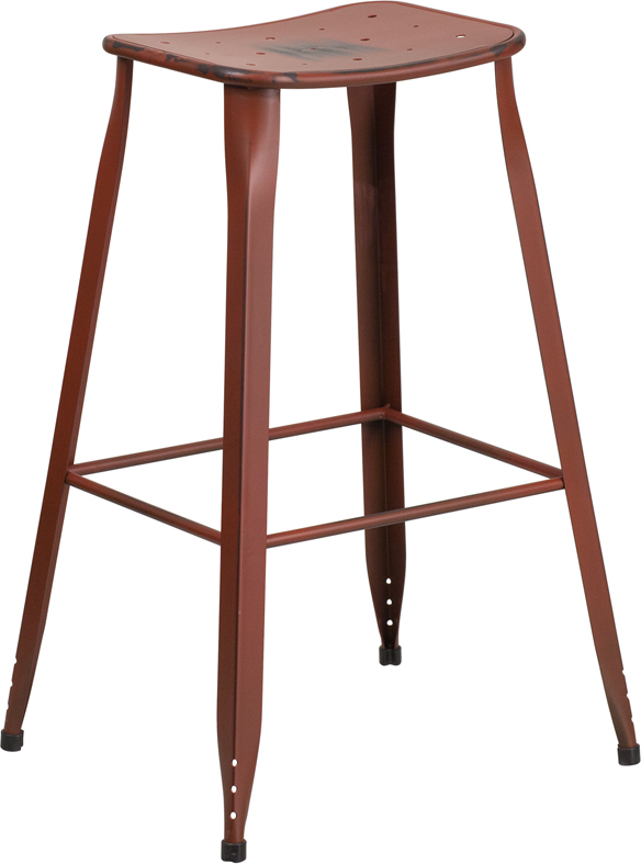 ERGONOMIC HOME 30'' High Distressed Kelly Red Metal Indoor-Outdoor Barstool
