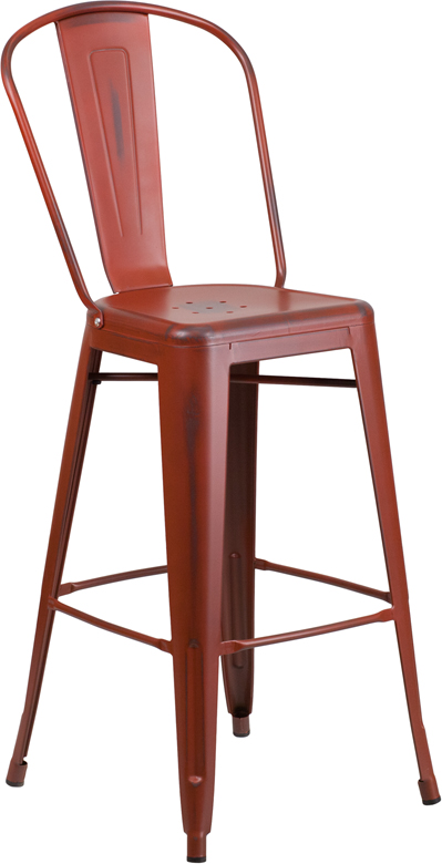 ERGONOMIC HOME 30'' High Distressed Kelly Red Metal Indoor-Outdoor Barstool with Back
