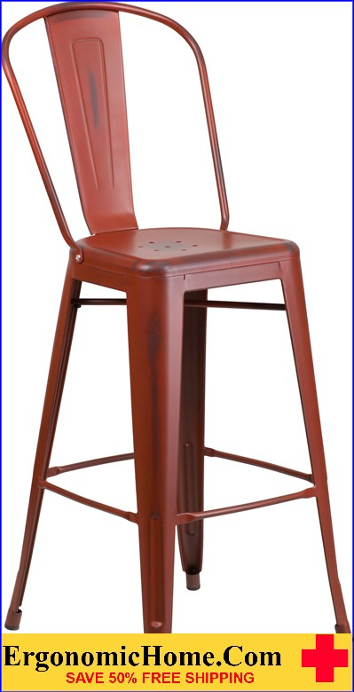 ERGONOMIC HOME 30'' High Distressed Kelly Red Metal Indoor-Outdoor Barstool with Back  <b><font color=green>50% Off Read More Below...</font></b>