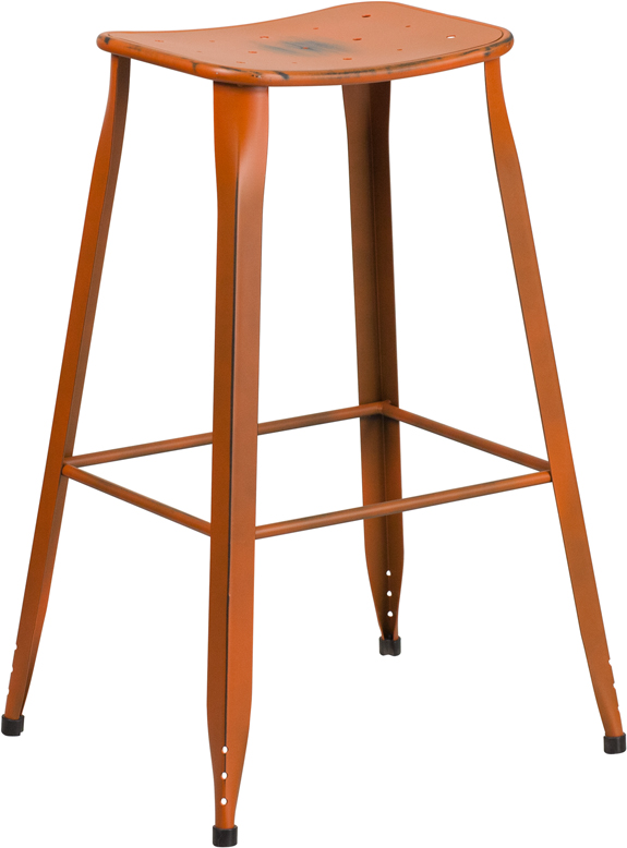 ERGONOMIC HOME 30'' High Distressed Orange Metal Indoor-Outdoor Barstool