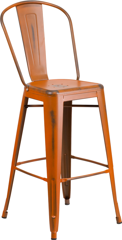 ERGONOMIC HOME 30'' High Distressed Orange Metal Indoor-Outdoor Barstool with Back