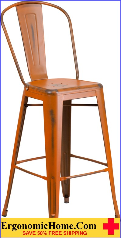 ERGONOMIC HOME 30'' High Distressed Orange Metal Indoor-Outdoor Barstool with Back  <b><font color=green>50% Off Read More Below...</font></b>