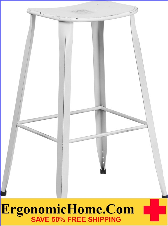 ERGONOMIC HOME 30'' High Distressed White Metal Indoor-Outdoor Barstool <b><font color=green>50% Off Read More Below...</font></b></font></b>