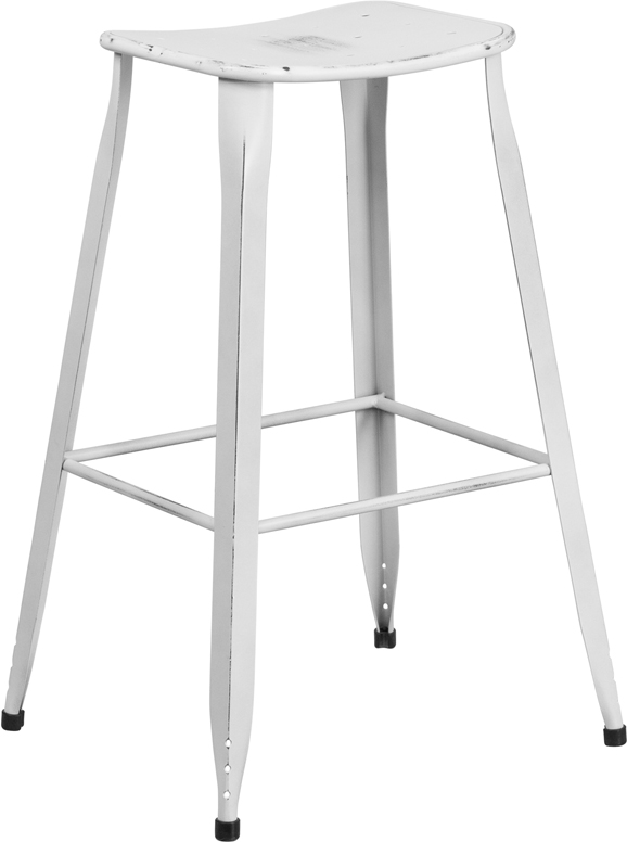 ERGONOMIC HOME 30'' High Distressed White Metal Indoor-Outdoor Barstool