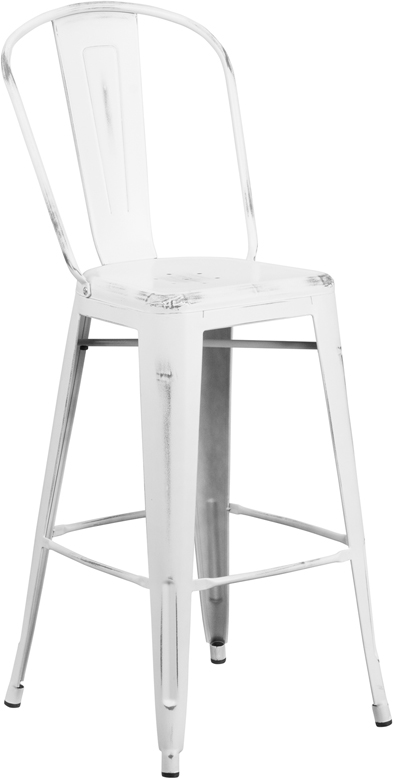 ERGONOMIC HOME 30'' High Distressed White Metal Indoor-Outdoor Barstool with Back