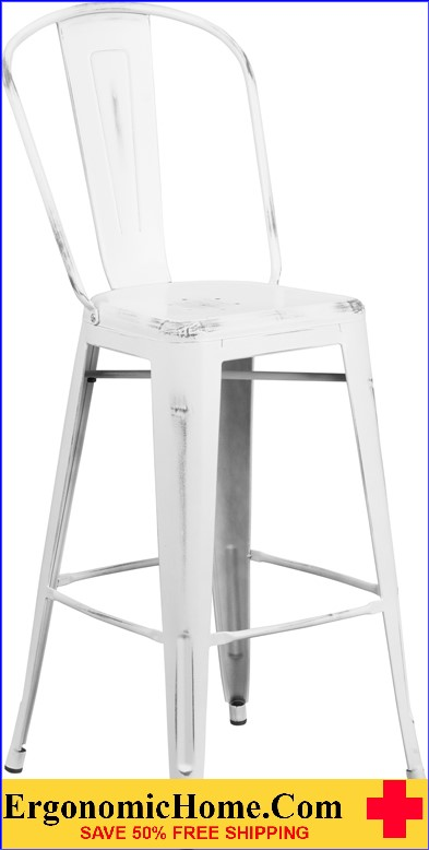 ERGONOMIC HOME 30'' High Distressed White Metal Indoor-Outdoor Barstool with Back <b><font color=green>50% Off Read More Below...</font></b></font></b>