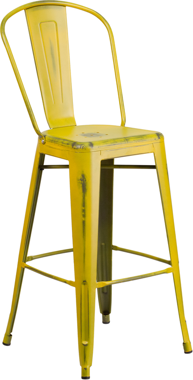 ERGONOMIC HOME 30'' High Distressed Yellow Metal Indoor-Outdoor Barstool with Back