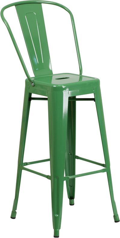 ERGONOMIC HOME 30'' High Green Metal Indoor-Outdoor Barstool with Back