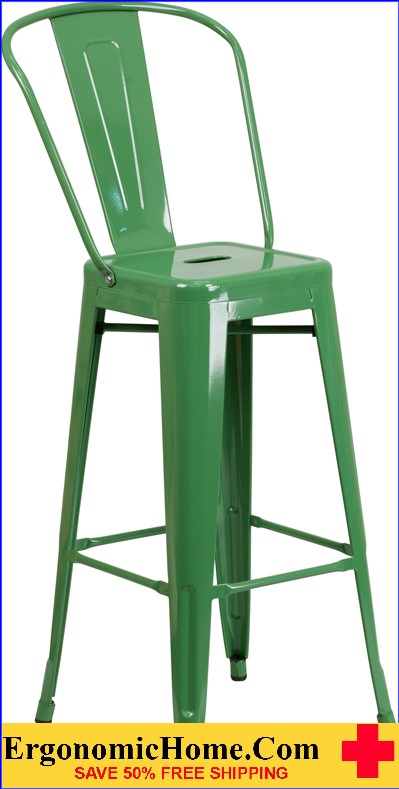 ERGONOMIC HOME 30'' High Green Metal Indoor-Outdoor Barstool with Back  | <b><font color=green>50% Off Read More Below...</font></b>