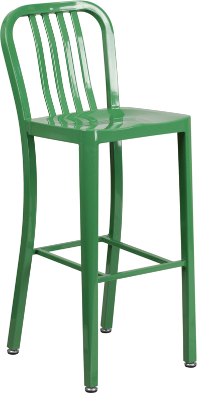 ERGONOMIC HOME 30'' High Green Metal Indoor-Outdoor Barstool with Vertical Slat Back