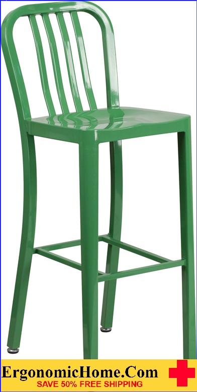 ERGONOMIC HOME 30'' High Green Metal Indoor-Outdoor Barstool with Vertical Slat Back  | <b><font color=green>50% Off Read More Below...</font></b>