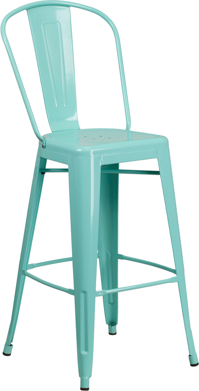 ERGONOMIC HOME 30'' High Mint Green Metal Indoor-Outdoor Barstool with Back