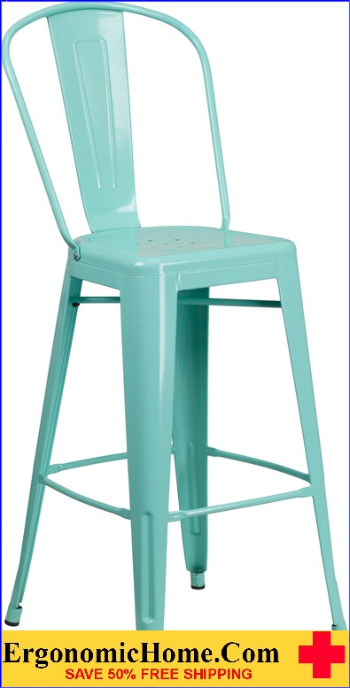 ERGONOMIC HOME 30'' High Mint Green Metal Indoor-Outdoor Barstool with Back <b><font color=green>50% Off Read More Below...</font></b></font></b>