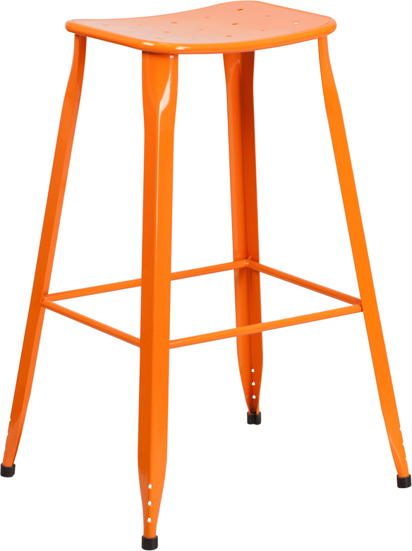 ERGONOMIC HOME 30'' High Orange Metal Indoor-Outdoor Barstool