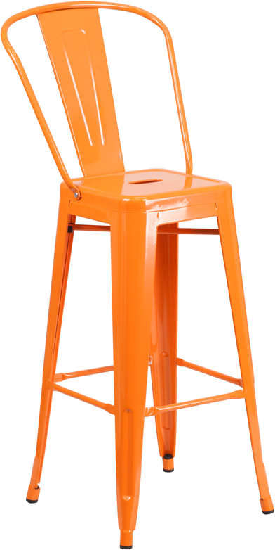 ERGONOMIC HOME 30'' High Orange Metal Indoor-Outdoor Barstool with Back