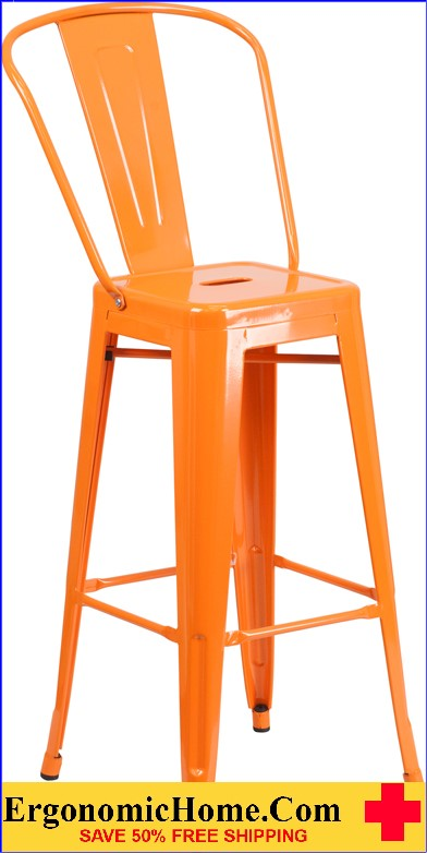 ERGONOMIC HOME 30'' High Orange Metal Indoor-Outdoor Barstool with Back  | <b><font color=green>50% Off Read More Below...</font></b>