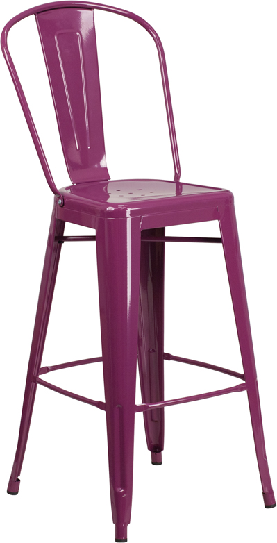 ERGONOMIC HOME 30'' High Purple Metal Indoor-Outdoor Barstool with Back