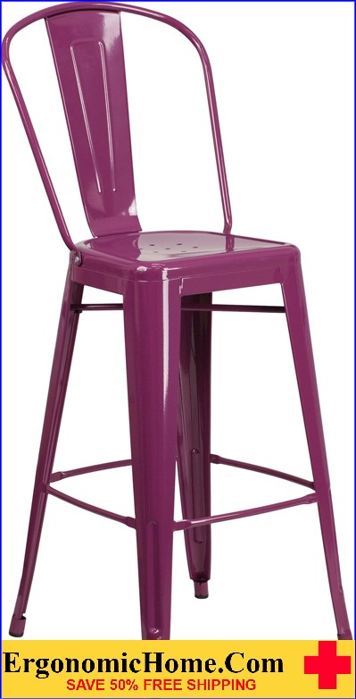 ERGONOMIC HOME 30'' High Purple Metal Indoor-Outdoor Barstool with Back <b><font color=green>50% Off Read More Below...</font></b></font></b>