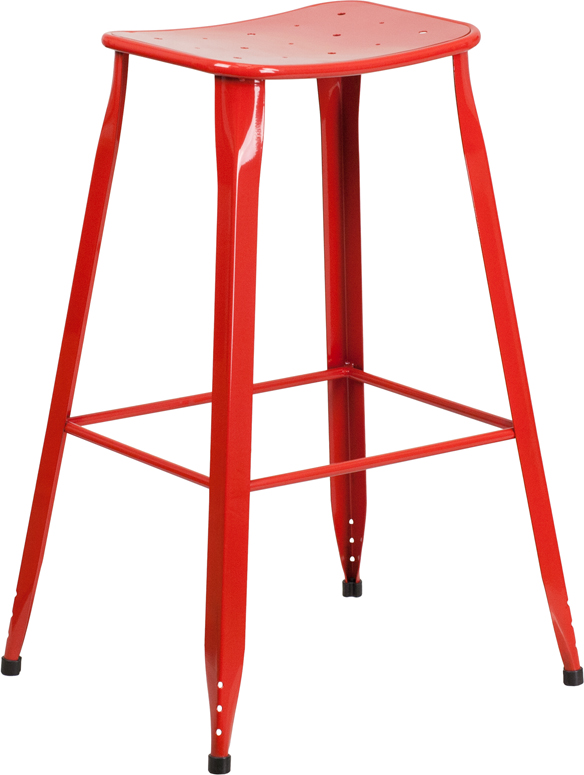 ERGONOMIC HOME 30'' High Red Metal Indoor-Outdoor Barstool