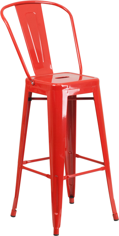 ERGONOMIC HOME 30'' High Red Metal Indoor-Outdoor Barstool with Back