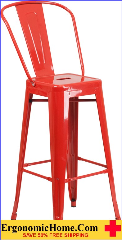 ERGONOMIC HOME 30'' High Red Metal Indoor-Outdoor Barstool with Back|<b><font color=green>50% Off Read More Below...</font></b></font></b>
