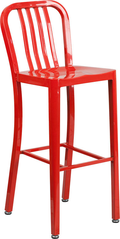 ERGONOMIC HOME 30'' High Red Metal Indoor-Outdoor Barstool with Vertical Slat Back
