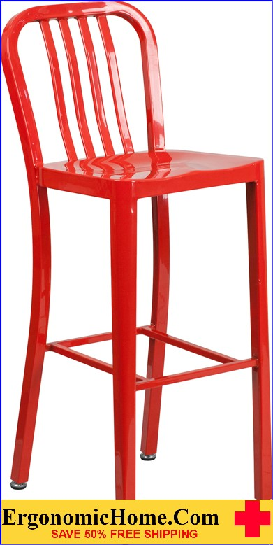 ERGONOMIC HOME 30'' High Red Metal Indoor-Outdoor Barstool with Vertical Slat Back  | <b><font color=green>50% Off Read More Below...</font></b>