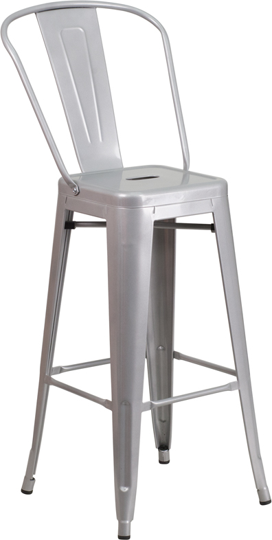 ERGONOMIC HOME 30'' High Silver Metal Indoor-Outdoor Barstool with Back